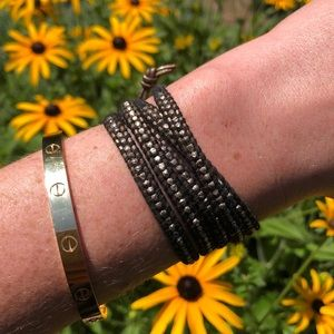 Chan Luu sterling silver and leather wrap bracelet